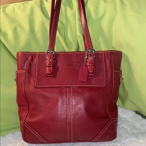 Coach Vintage Red Leather Shoulder Tote
